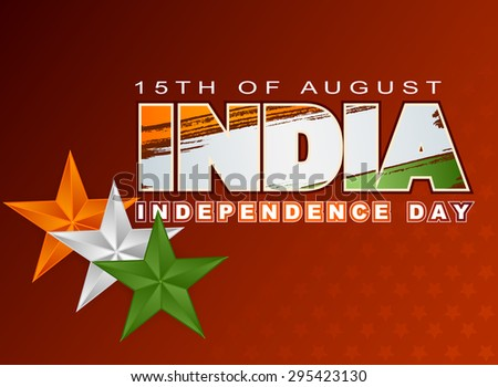 Holidays layout template with National flag colors of India; Orange, white and green stars on grunge national flag colors for fifteenth of August, Indian Independence Day - stock photo