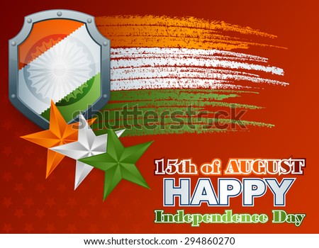 Holidays layout template with shield painted in national flag colors; Orange, white and green stars and grunge, brush texture on national flag colors for fifteenth of August, Indian Independence Day - stock photo