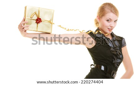 Holidays love and happiness concept - beautiful blonde girl with golden gift box isolated