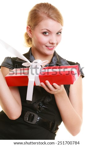 Holidays love and happiness concept - beautiful blonde girl with red gift box isolated