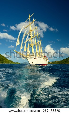 Holidays on sailing ship - stock photo