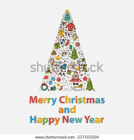 Holidays set in the form of a tree with Santa Claus,snowman,Christmas tree,sleigh,candy,house,ice skates,snowflake,gift,candle,Christmas wreath,Christmas toys,mittens,hat,scarf,deer Santa Claus, - stock photo