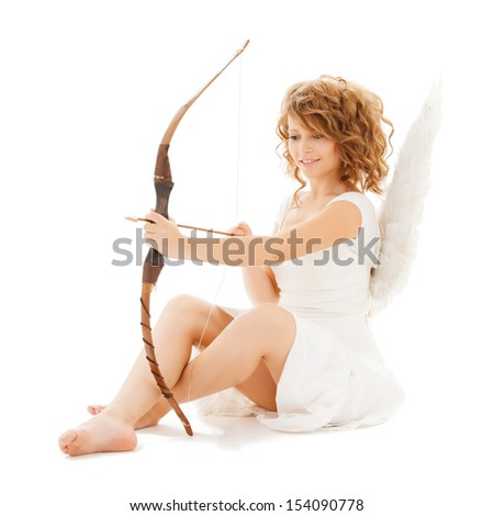 holidays, valentine's day and costumes concept - happy teenage angel girl with bow and arrow - stock photo