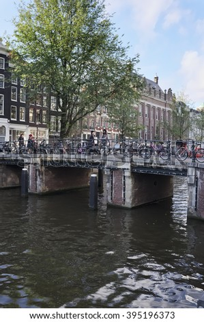 Holland, Amsterdam; 9 October 2011, bicycles parked on a bridge - EDITORIAL