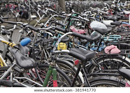 Holland, Amsterdam; 9 October 2011, bicycles parking near the Central Station - EDITORIAL
