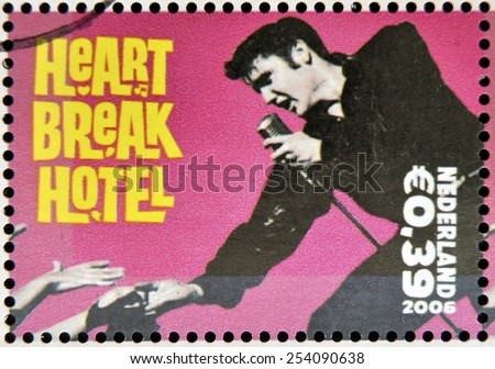 HOLLAND - CIRCA 2006 A stamp printed in Holland shows Elvis Presley, Heart break Heart, circa 2006 - stock photo