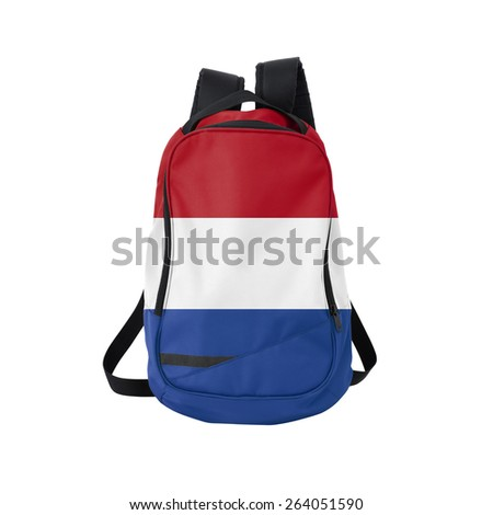 Holland flag backpack isolated on white background. Back to school concept. Education and study abroad. Travel and tourism in Netherlands - stock photo