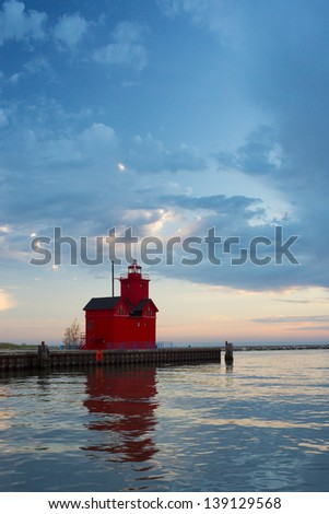 Holland Harbor South Pierhead Lighthouse - stock photo