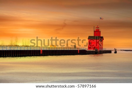 Holland light house - stock photo