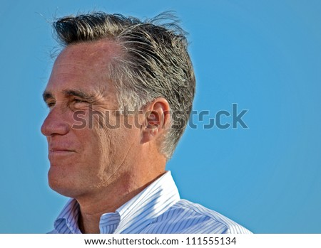 HOLLAND, MICHIGAN - JUNE 19: GOP presidential candidate Mitt Romney appears at a campaign rally at Holland State Park, June 19, 2012 in Holland, Michigan. - stock photo