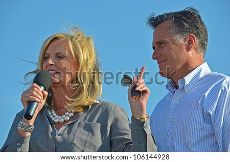 HOLLAND, MICHIGAN - JUNE 19: Mitt and Ann Romney campaign rally at Holland State Park, June 19, 2012 in Holland, Michigan. - stock photo
