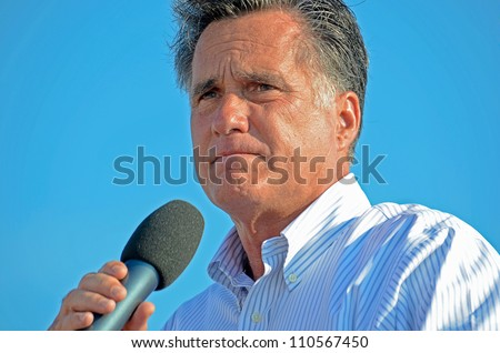 HOLLAND, MICHIGAN - JUNE 19, 2012: Mitt Romney campaign rally at Holland State Park, June 19, 2012 in Holland, Michigan - stock photo