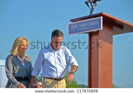 HOLLAND, MICHIGAN - JUNE 19, 2012: Mitt Romney campaign rally at Holland State Park, June 19, 2012 in Holland, Michigan. - stock photo