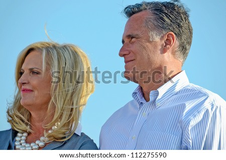 HOLLAND, MICHIGAN - JUNE 19: Mitt Romney campaign rally at Holland State Park, June 19, 2012 in Holland, Michigan. - stock photo