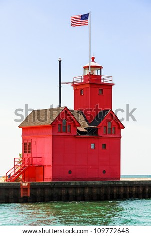 "Holland, Michigan South Pierhead Lighthouse is known as ""Big Red."" - stock photo"