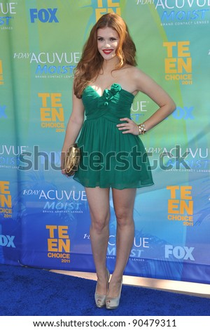 Holland Roden arrives at the 2011 Teen Choice Awards at the Gibson Amphitheatre, Universal Studios, Hollywood. August 7, 2011  Los Angeles, CA Picture: Paul Smith / Featureflash