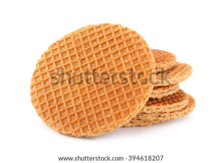 Holland round waffles with caramel isolated on white