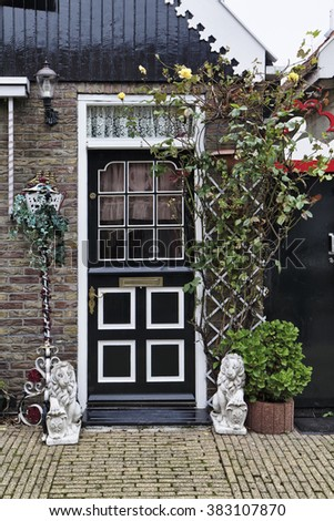 Holland, Volendam, old stone house entrance door