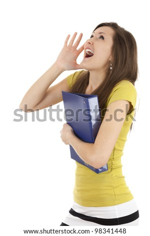 hollering young woman with hand near face - stock photo