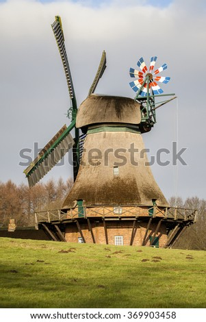 Hollingstedter windmill - stock photo