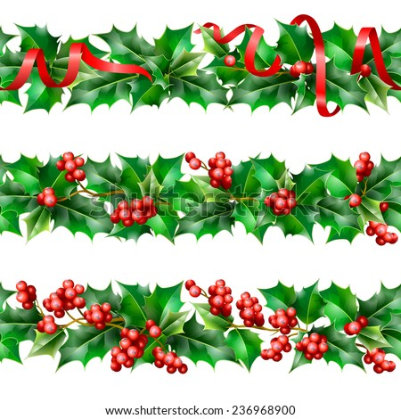 Holly. Christmas seamless background.  - stock photo