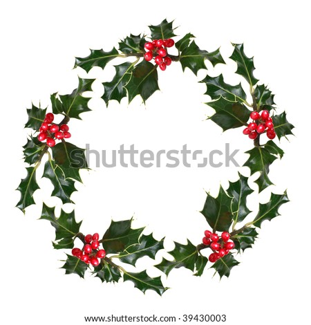 Holly leaf sprigs with red berries forming a circular wreath, over white background. - stock photo