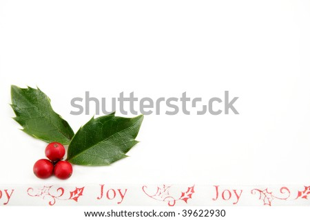 Holly leaves and berries with a decorative ribbon with the words Joy.  Room for your text. - stock photo
