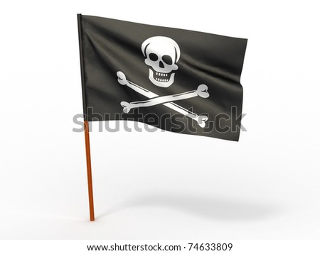 Holly Rojer flag on white isolated background. 3d - stock photo
