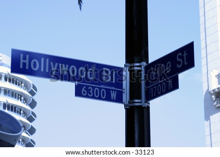 Hollywood and Vine street sign. Some of the most  famous real estate in the world. - stock photo