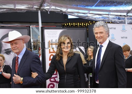 HOLLYWOOD - APRIL 12, 2012: Dallas cast Larry Hagman(l), Linda Gray(c) and Patrick Duffy(r) opening night of the TCM Classic Film Festival Grauman's Chinese Theatre April 12, 2012 Hollywood, CA. - stock photo
