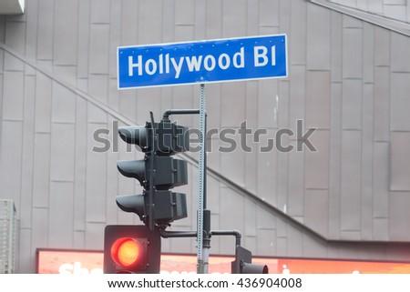 Hollywood blvd. street sign - stock photo