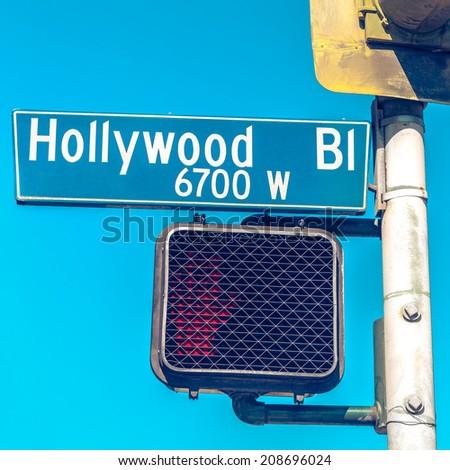 Hollywood boulevard road sign, California, USA - stock photo