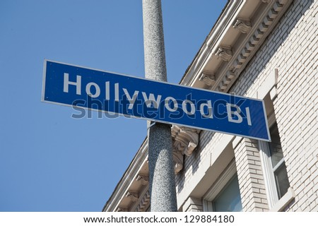 Hollywood Boulevard sign road in Los Angeles, California - stock photo