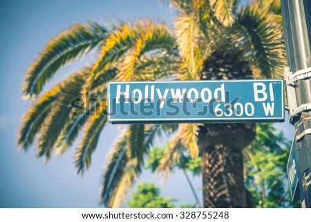 Hollywood boulevard street sign - stock photo