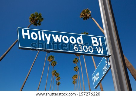 Hollywood Boulevard with  vine sign illustration on palm trees background - stock photo