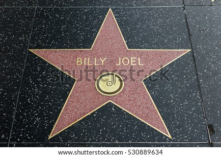 HOLLYWOOD, CA - DECEMBER 06:  Billy Joel star on the Hollywood Walk of Fame in Hollywood, California on Dec. 6, 2016.
