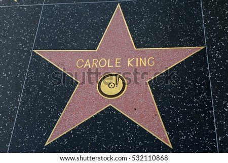 HOLLYWOOD, CA - DECEMBER 06: Carole King star on the Hollywood Walk of Fame in Hollywood, California on Dec. 6, 2016.