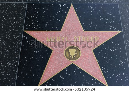 HOLLYWOOD, CA - DECEMBER 06: Meryl Streep star on the Hollywood Walk of Fame in Hollywood, California on Dec. 6, 2016.