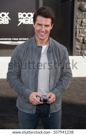 HOLLYWOOD, CA - JUNE 08: Actor Tom Cruise arrives at the premiere of Warner Bros. Pictures' 'Rock of Ages' at Grauman's Chinese Theatre on June 8, 2012 in Hollywood, California. - stock photo