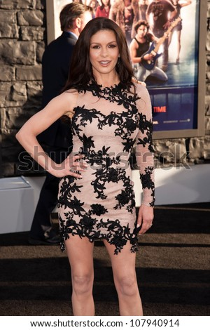 HOLLYWOOD, CA - JUNE 08: Actress Catherine Zeta-Jones arrives at the premiere of Warner Bros. Pictures' 'Rock of Ages' at Grauman's Chinese Theatre on June 8, 2012 in Hollywood, California. - stock photo