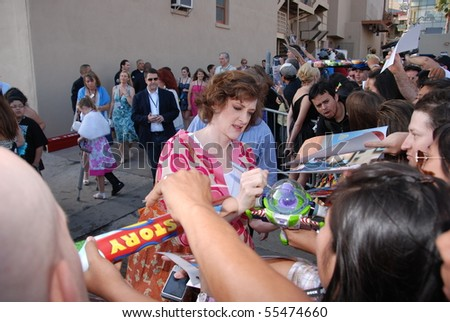 HOLLYWOOD, CA - JUNE 13: Actress Joan Cusack at the World Premiere of Disney/Pixar's 'Toy Story 3' on June 13, 2010 at the El Capitan Theatre in Hollywood, California. - stock photo