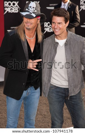 HOLLYWOOD, CA - JUNE 08: Brett Michaels and Tom Cruise arrive at the premiere of Warner Bros. Pictures' 'Rock of Ages' at Grauman's Chinese Theatre on June 8, 2012 in Hollywood, California. - stock photo