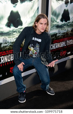 HOLLYWOOD, CA - MAY 23: Jason Mewes arrives at the Special Fan Screening of Chernobyl Diaries at the Cinerama Dome on May 23, 2102 in Hollywood, California. - stock photo