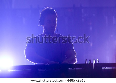 HOLLYWOOD, CA-OCT 24: DJ Calvin Harris performs onstage during CBS RADIOs third annual We Can Survive, presented by Chrysler, at the Hollywood Bowl on October 24, 2015 in Hollywood, California. - stock photo