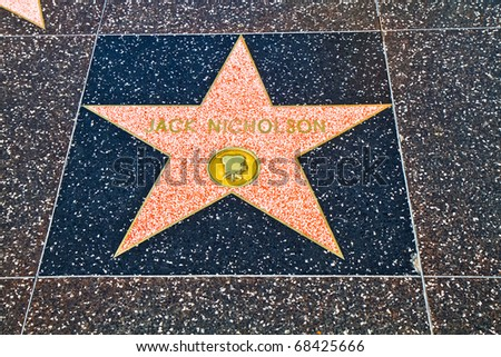 "HOLLYWOOD, CA - OCT 14 : Star of ""Jack Nicholson"" in the street of fame pictured on October 14, 2010 in Hollywood, California, USA."