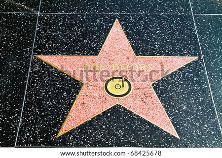 "HOLLYWOOD, CA - OCT 14 : Star of ""The doors"" in the street of fame pictured on October 14, 2010 in Hollywood, California, USA."