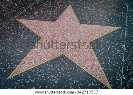 HOLLYWOOD,CA - OCTOBER 8,2015: empty star on Hollywood Walk of Fame in Hollywood, California. This star is located on Hollywood Blvd. and is one of 2400 celebrity stars.