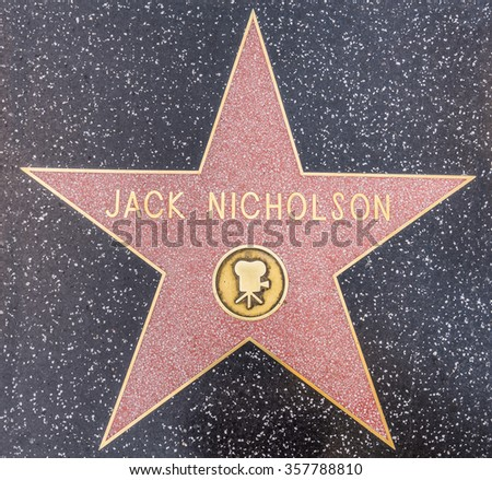 HOLLYWOOD, CA - OCTOBER 8, 2015: Jack Nicholson's star on Hollywood Walk of Fame on June 26, 2012 in Hollywood, California - stock photo