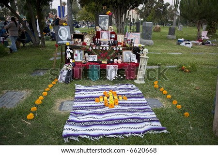 Hollywood, CA October 27th, 2007:  Day of the Dead Festival (Dia de los Muertos) at the Hollywood Forever Cemetary.   Altar display - stock photo