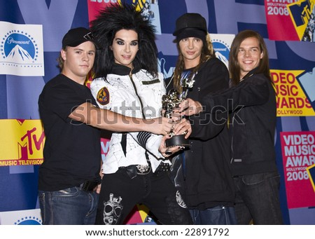 HOLLYWOOD, CA - SEPTEMBER 07: German Rock Group TOKIO HOTEL posing in the press room at the 2008 MTV Video Music Awards at Paramount Pictures Studios on September 7, 2008 in Hollywood, California.